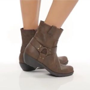 AEROSOLES MOTO harness ANKLE BOOTS brown leather